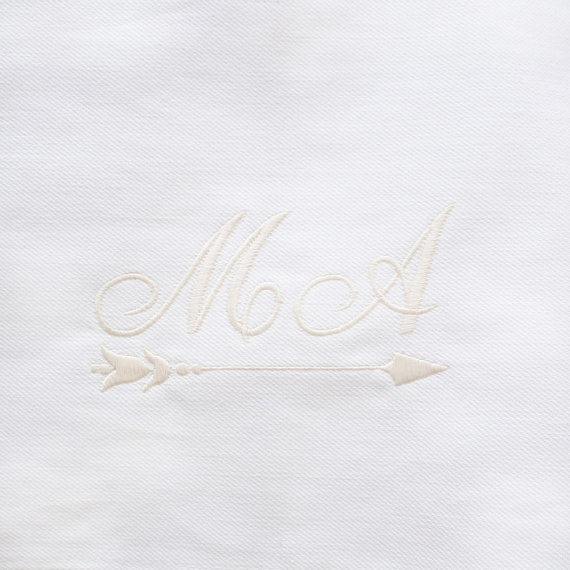 LINEN GARMENT BAGS for wedding day with couples monogram