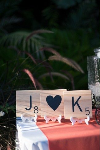 Large scrabble pieces for wedding decor with couples initials
