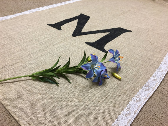Long natural burlap aisle runner with monogram for wedding ceremony