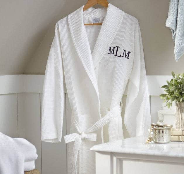 Monogrammed Waffle Cotton Robe for second anniversary gift