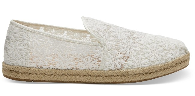 Natural Floral Lace Women's Toms flats as wedding shoes