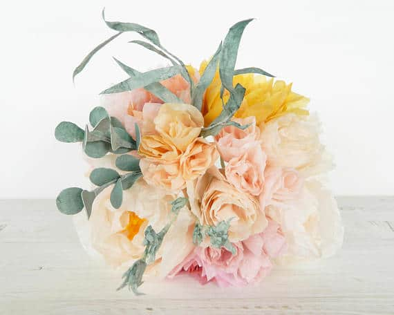 Paper Flower Bouquet with dahlias roses and peonies for 1st wedding anniversary gift