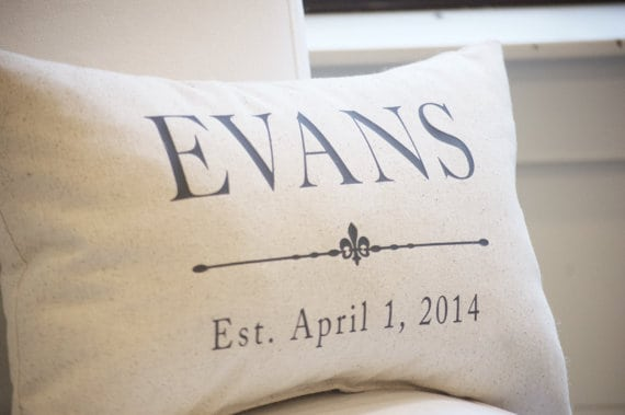 Personalized Pillow Made Of Cotton For 2nd Wedding Anniversary Gift