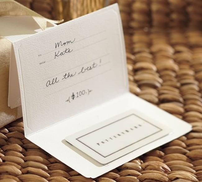 Pottery barn gift card for 9th wedding anniversary gift