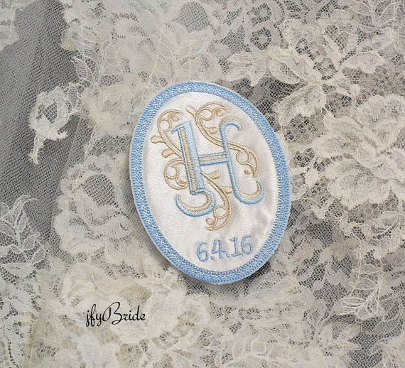 Something Blue Wedding Gown Label, Wedding Gown Patch, Wedding Dress Monogram Patch, Something Blue for the Bride,