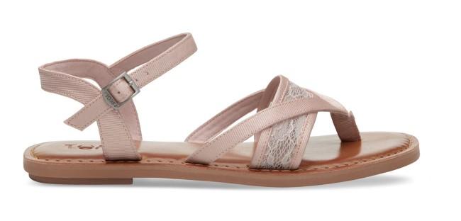 Toms Petal Pink Lace Grosgrain Bridal Sandals