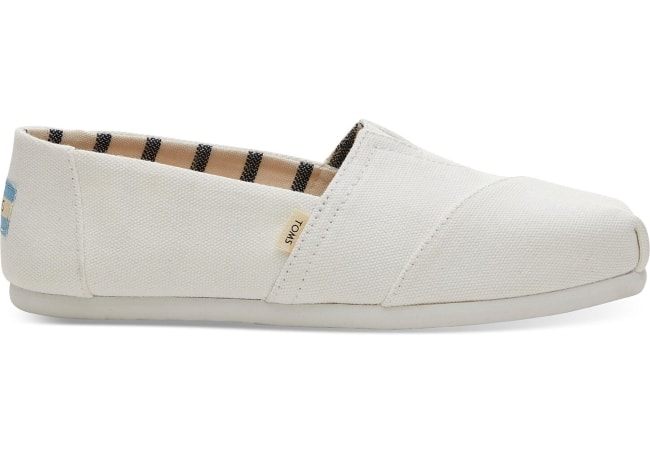 Toms traditional white canvas flat for bridal shoe