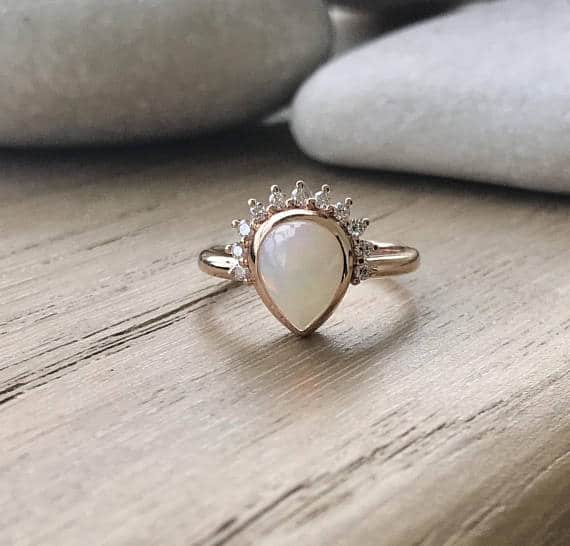 Unique Opal Engagement Ring Rose Gold Diamond