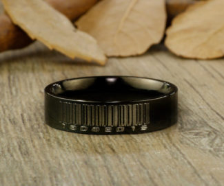 Barcode Design Black Titanium Ring