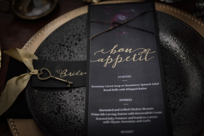 black and gold menu card