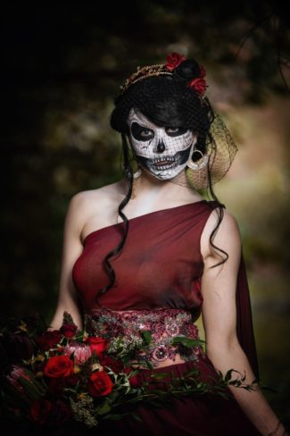 black birdcage veil on styled Halloween bride