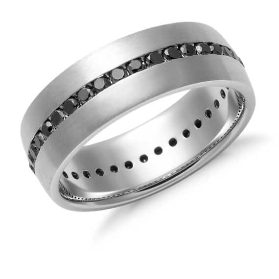 black diamond channel set white gold ring