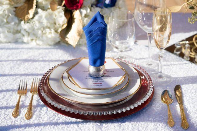 blue napkin on plates
