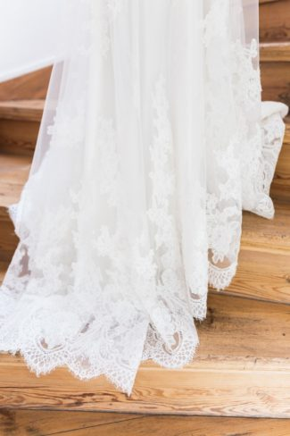 bottom of bride's gown