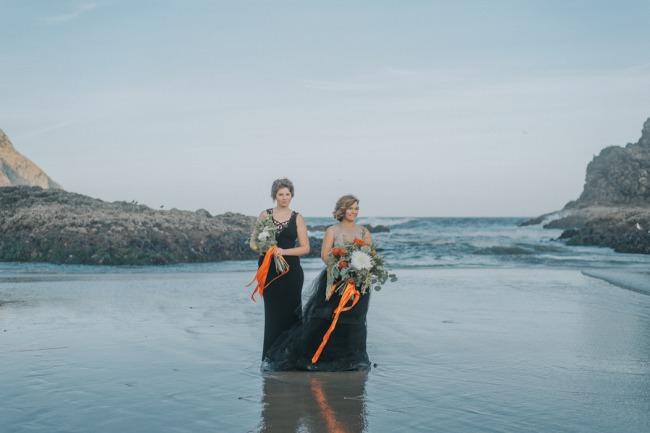 bridesmaid and bride on sandy beach