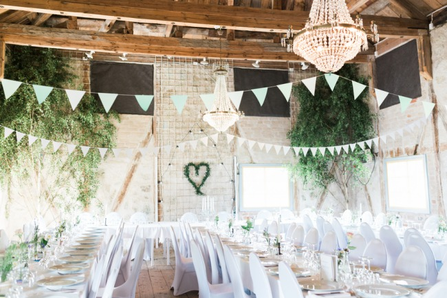 chandelier and bunting overhead
