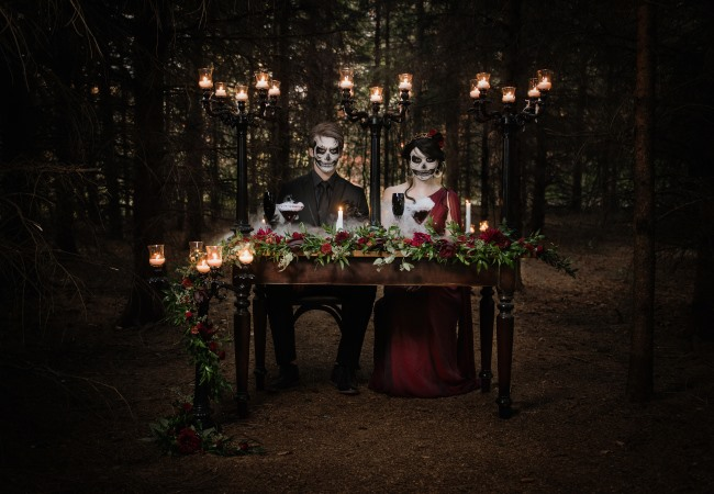couple at forest table