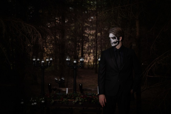 dark forest with styled Halloween groom