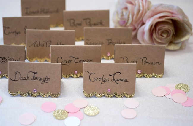 glittery gold on kraft paper place cards