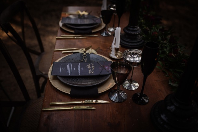 gold and black styled table