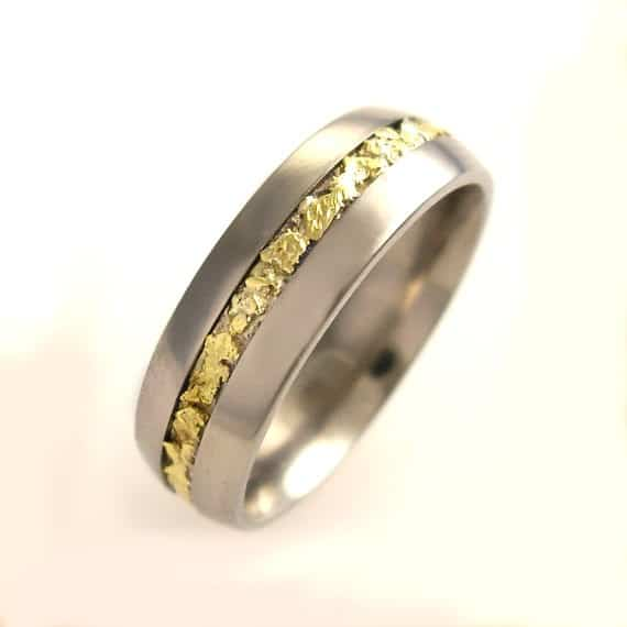 Gold Nugget Inlay Ring