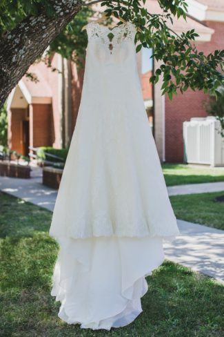 gown hanging in tree