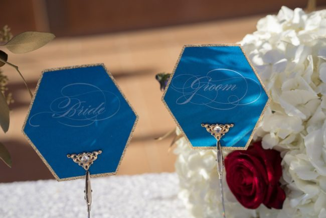 hexagon bride and groom table signs
