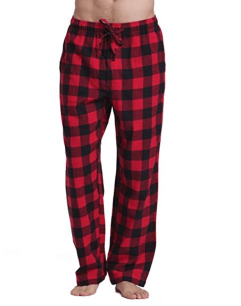 mens cotton pajamas in red and black