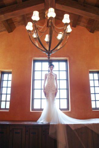 model underneath chandelier