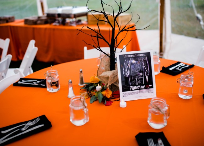 orange table cloth for Halloween Eve wedding reception