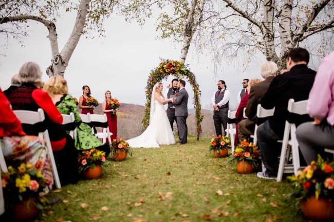 outdoor Halloween Eve wedding ceremony