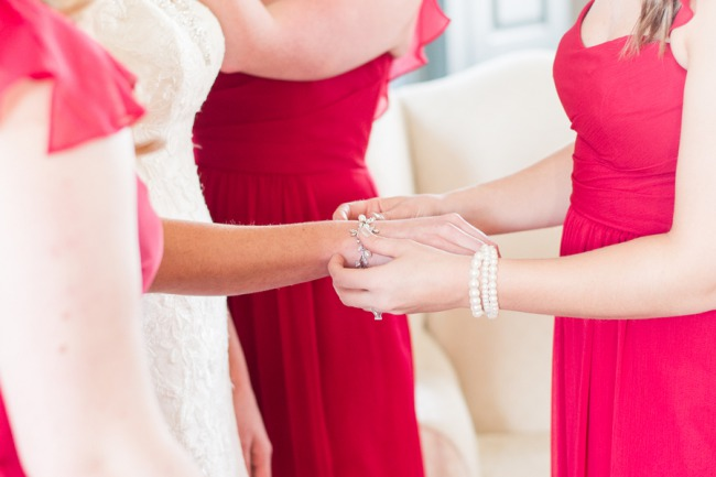 showing off bridal bracelet