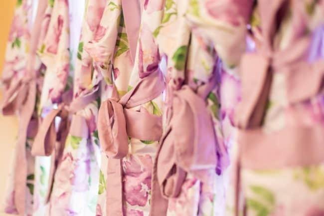 purple floral pattern silk robes