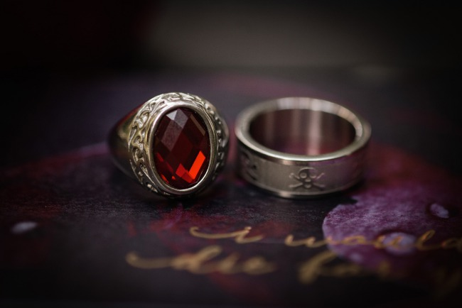 skull wedding band and garnet ruby ring