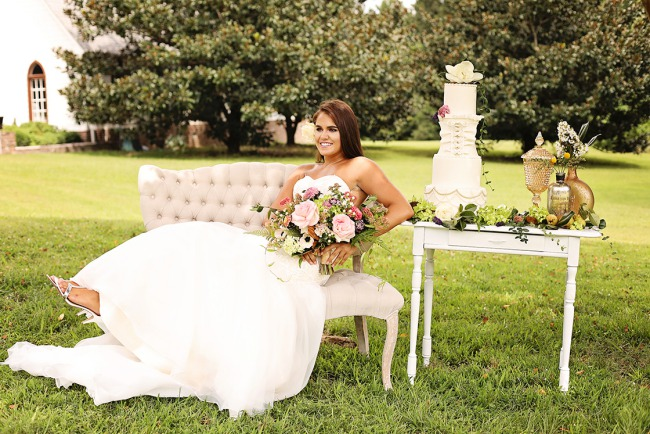 styled bride on lounge outside