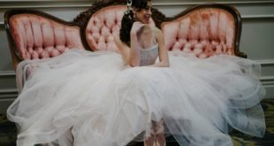 styled bride with ballet shoes
