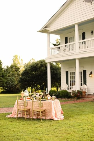 styled table on lawn of Bonne Terre