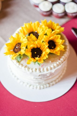 sunflowers on top of cake