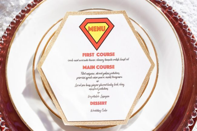 superman themed menu card