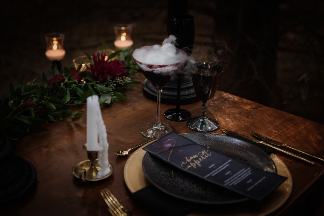 table setting for Halloween styled shoot