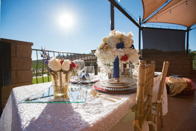 tablescape with white blue and red