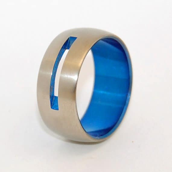 titanium ring with blue anodization