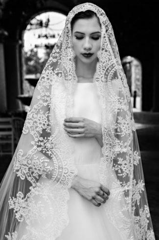 veiled bridal model