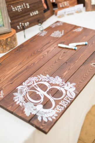 wood board guest book