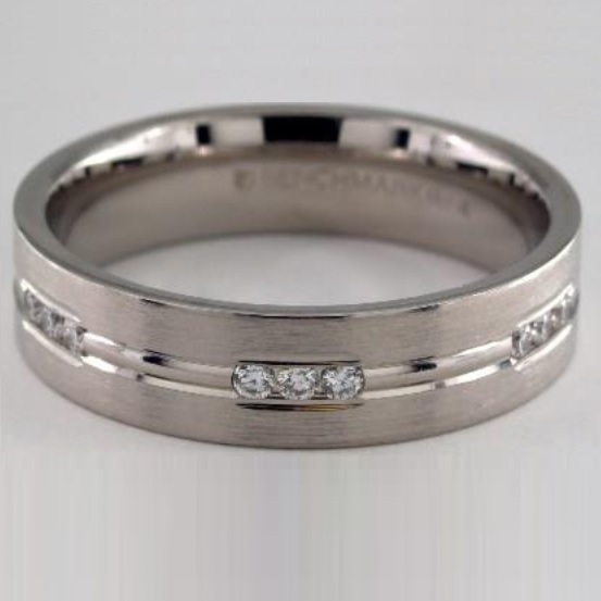 Etched Channel Set Diamond Mens Band