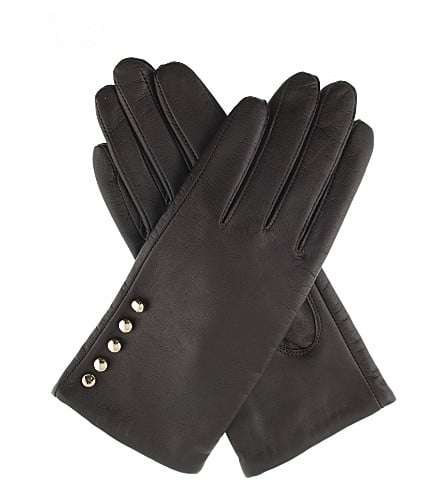 3rd anniverysary gift Button leather gloves for her