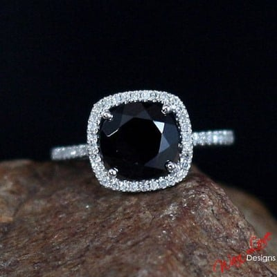 Black Sapphire & Diamond Cushion Halo Engagement Ring