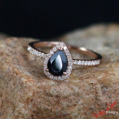 Black Sapphire & Diamond Pear cut Halo Engagement Ring