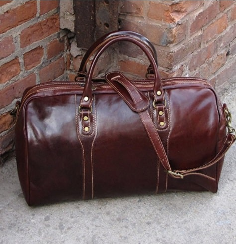 Cenzo Duffle Vecchio Brown Italian Leather Weekender Travel Bag for 3rd annivery gift
