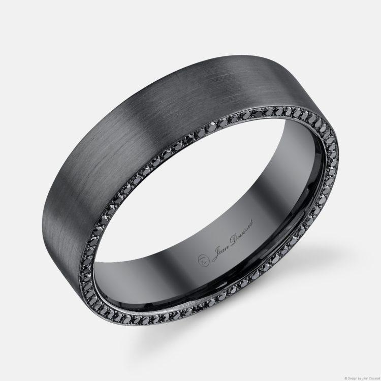 men's wedding band design in black rhodium with black pavé diamonds